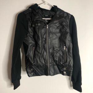Faux leather n sweatshirt jacket